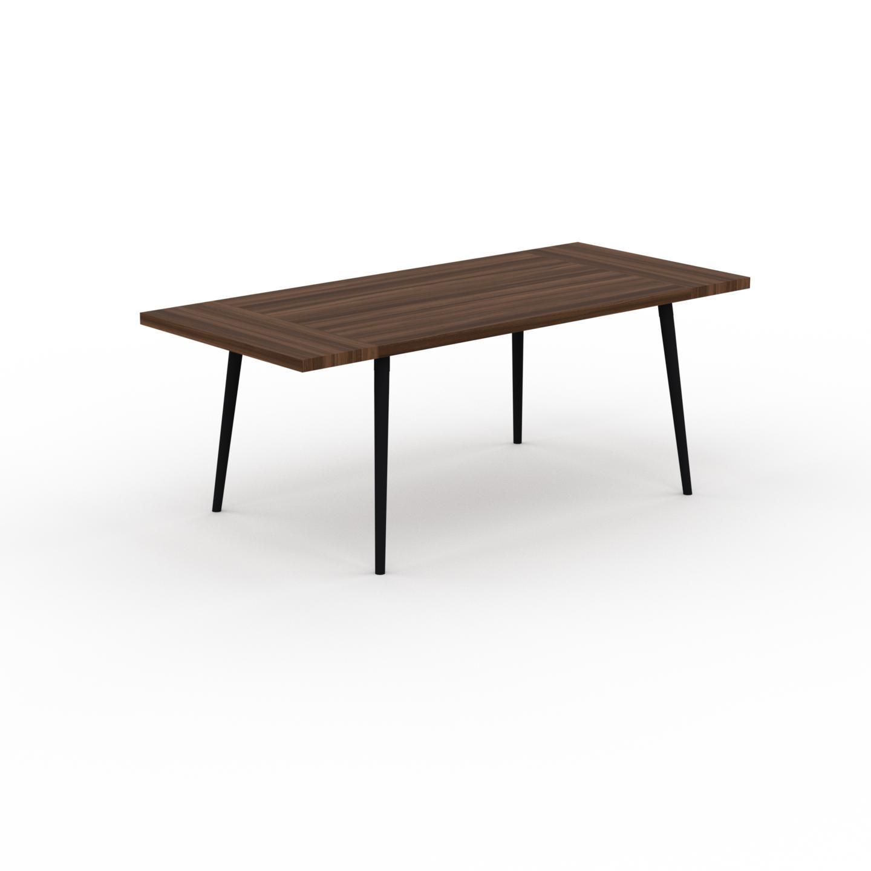 MYCS Table à manger - Noyer, design scandinave, pour salle à manger ou cuisine nordique, table extensible à rallonge - 200 x 75 x 90 cm