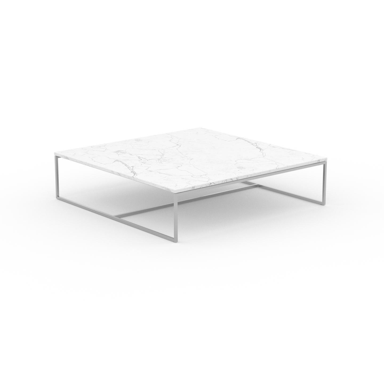 MYCS Table basse en marbre Blanc Carrara, design contemporain, bout de canapé luxueux et sophistiqué - 121 x 31 x 121 cm, personnalisable