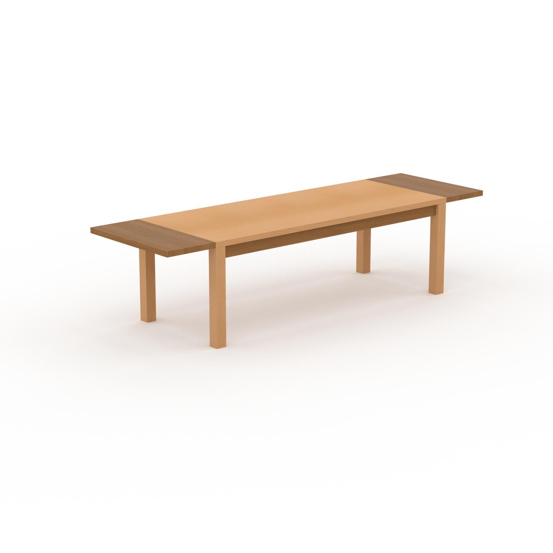 MYCS Table à manger extensible - Hêtre, moderne, pour salle à manger ou cuisine, avec deux rallonges - 300 x 76 x 90 cm, personnalisable