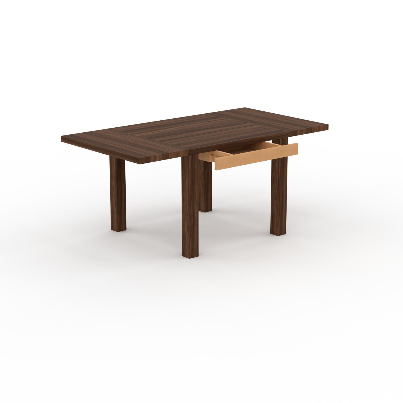 MYCS Table à manger extensible - Noyer, moderne, pour salle à manger ou cuisine, avec deux rallonges - 170 x 76 x 90 cm, personnalisable