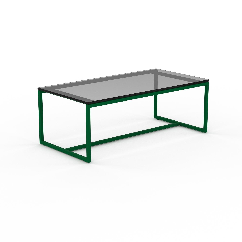 MYCS Table basse en Verre fumé dépoli, design industriel, bout de canapé raffiné - 81 x 31 x 42 cm, personnalisable