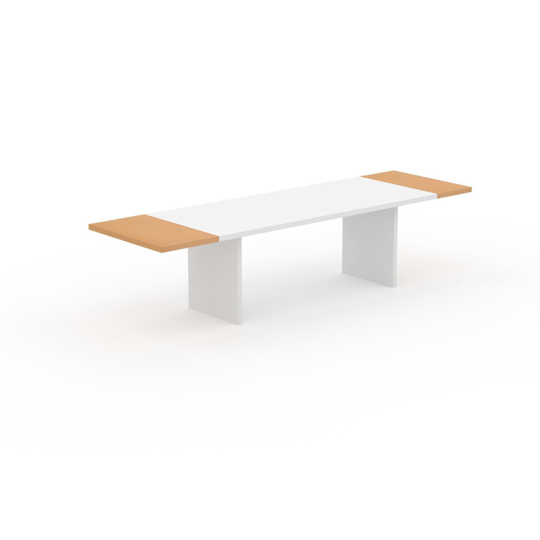 MYCS Table à manger extensible - Blanc, moderne, pour salle à manger ou cuisine, avec deux rallonges - 310 x 75 x 90 cm, personnalisable