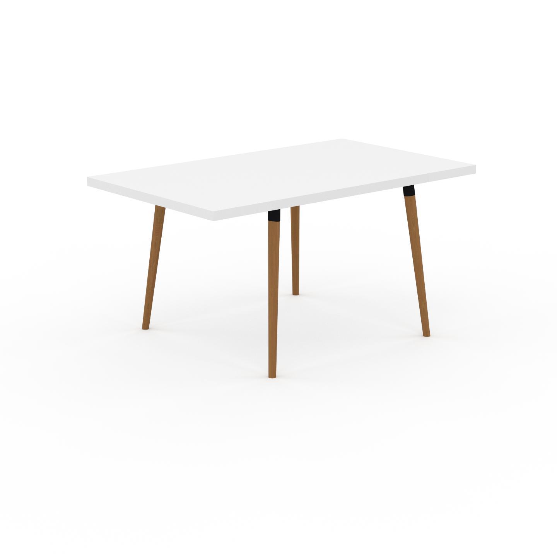 MYCS Table à manger - Blanc, design scandinave, pour salle à manger ou cuisine nordique, table extensible à rallonge - 150 x 75 x 90 cm