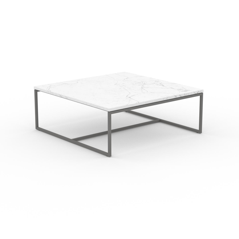 MYCS Table basse en marbre Blanc Carrara, design contemporain, bout de canapé luxueux et sophistiqué - 81 x 31 x 81 cm, personnalisable