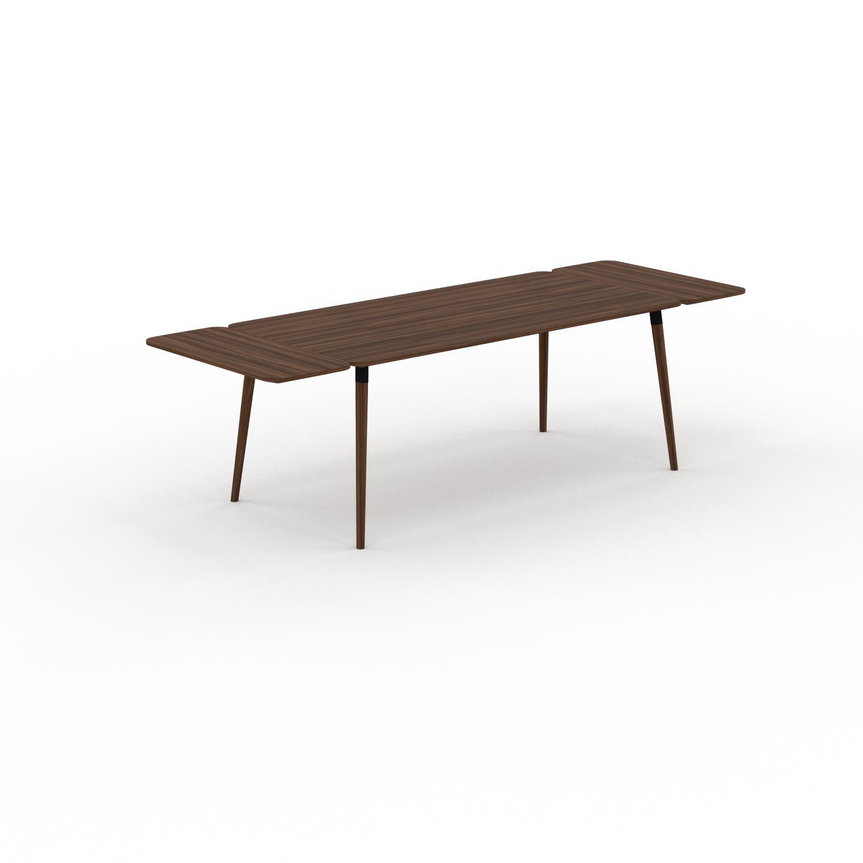 MYCS Table à manger - Noyer, design scandinave, pour salle à manger ou cuisine nordique, table extensible à rallonge - 260 x 75 x 90 cm