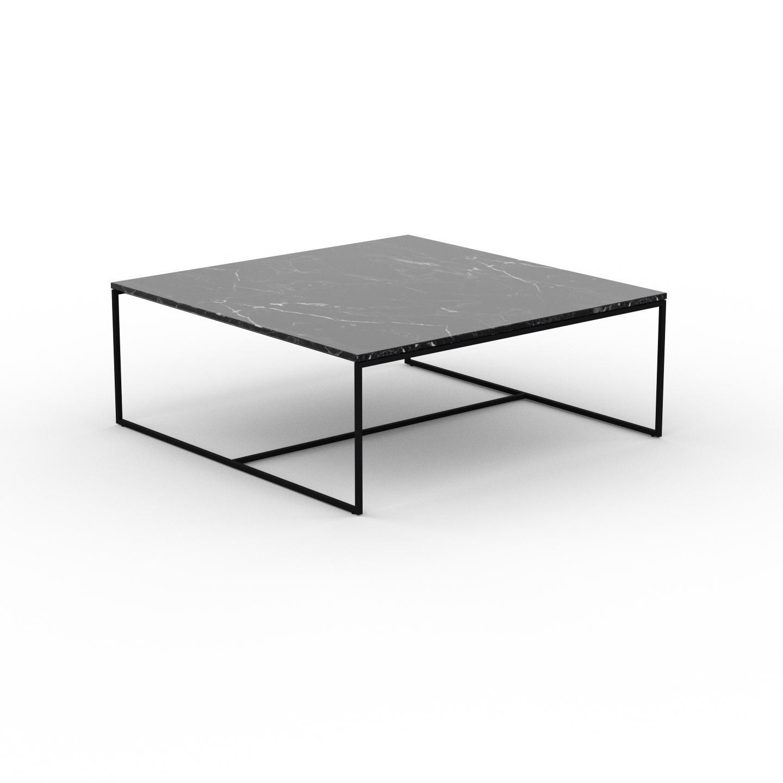 MYCS Table basse en marbre Noir Marquina, design contemporain, bout de canapé luxueux et sophistiqué - 121 x 46 x 121 cm, personnalisable