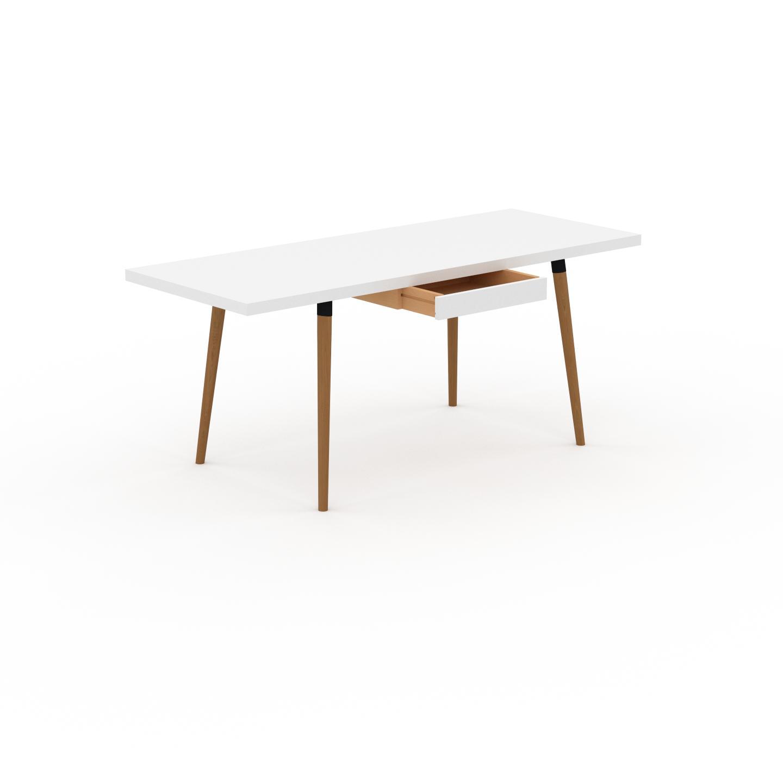 MYCS Table à manger - Blanc, design scandinave, pour salle à manger ou cuisine nordique, table extensible à rallonge - 180 x 75 x 70 cm