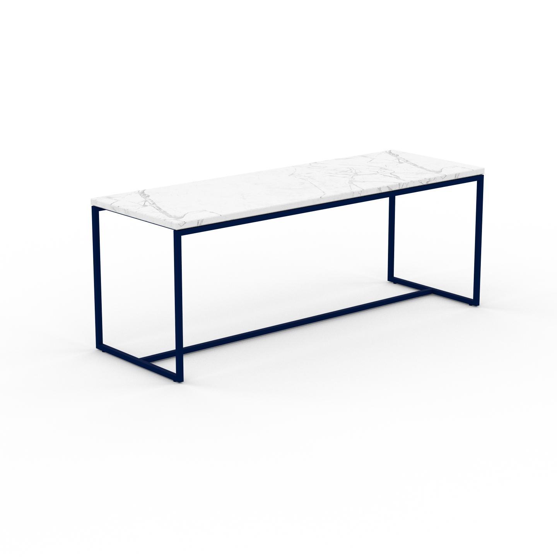 MYCS Table basse en marbre Blanc Carrara, design contemporain, bout de canapé luxueux et sophistiqué - 121 x 46 x 42 cm, personnalisable