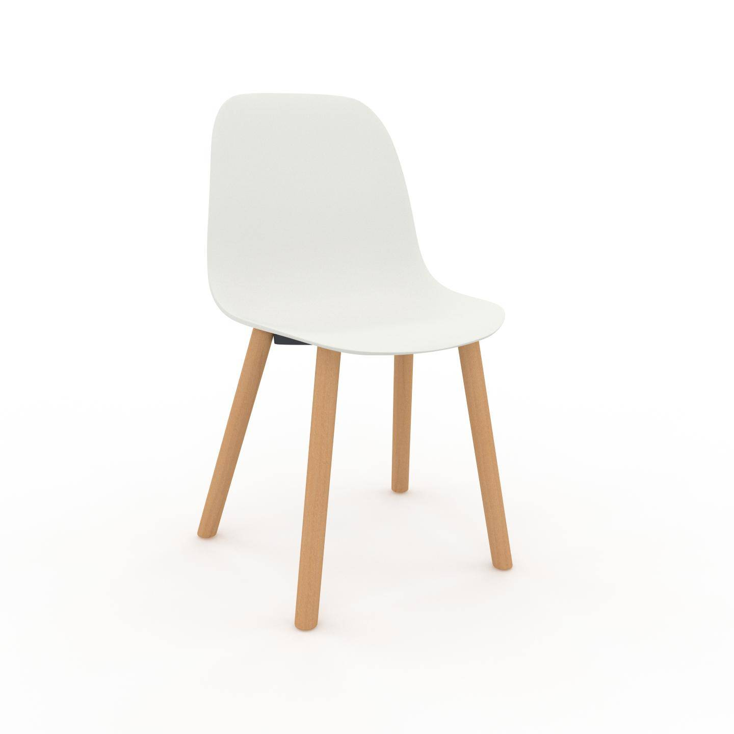 MYCS Chaise en bois blanc de 49 x 82 x 43 cm au design unique, configurable