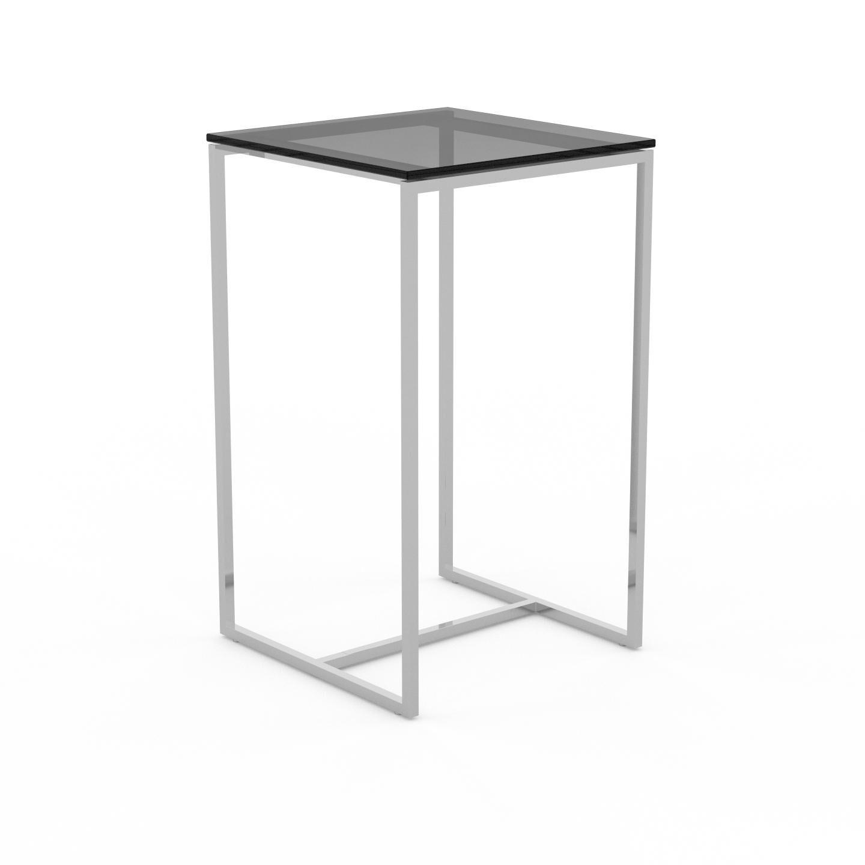 MYCS Table basse en Verre fumé dépoli, design industriel, bout de canapé raffiné - 42 x 71 x 42 cm, personnalisable