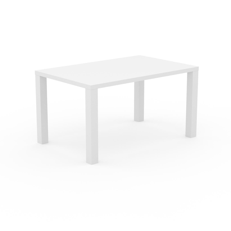 MYCS Table à manger - Blanc, design, pour salle à manger ou cuisine plateau de qualité - 140 x 76 x 90 cm, personnalisable