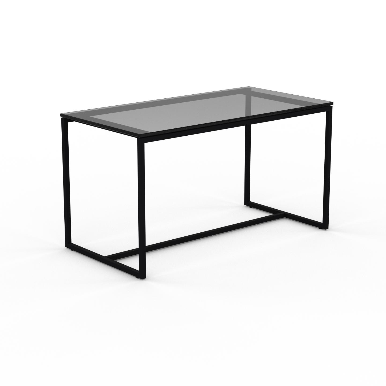 MYCS Table basse en Verre fumé dépoli, design industriel, bout de canapé raffiné - 81 x 46 x 42 cm, personnalisable
