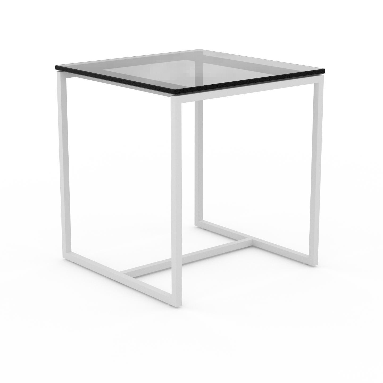 MYCS Table basse en Verre fumé transparent, design industriel, bout de canapé raffiné - 42 x 46 x 42 cm, personnalisable