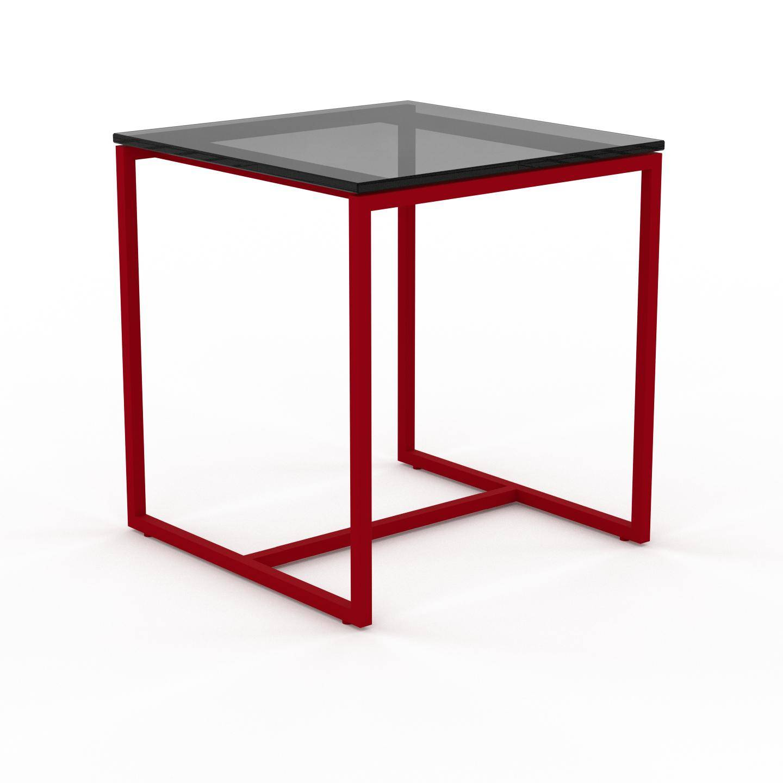 MYCS Table basse en Verre fumé dépoli, design industriel, bout de canapé raffiné - 42 x 46 x 42 cm, personnalisable