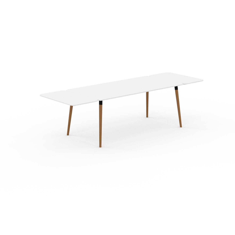 MYCS Table à manger - Blanc, design scandinave, pour salle à manger ou cuisine nordique, table extensible à rallonge - 280 x 75 x 90 cm