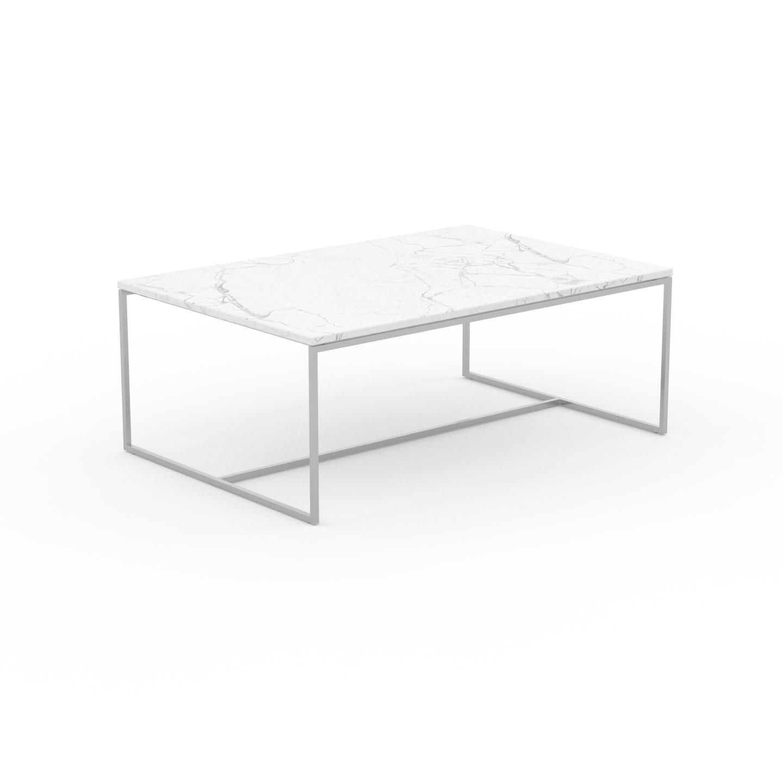 MYCS Table basse en marbre Blanc Carrara, design contemporain, bout de canapé luxueux et sophistiqué - 121 x 46 x 81 cm, personnalisable