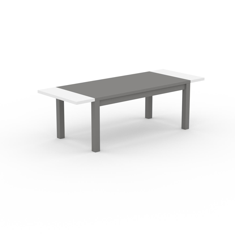MYCS Table à manger extensible - Gris, moderne, pour salle à manger ou cuisine, avec deux rallonges - 240 x 76 x 90 cm, personnalisable