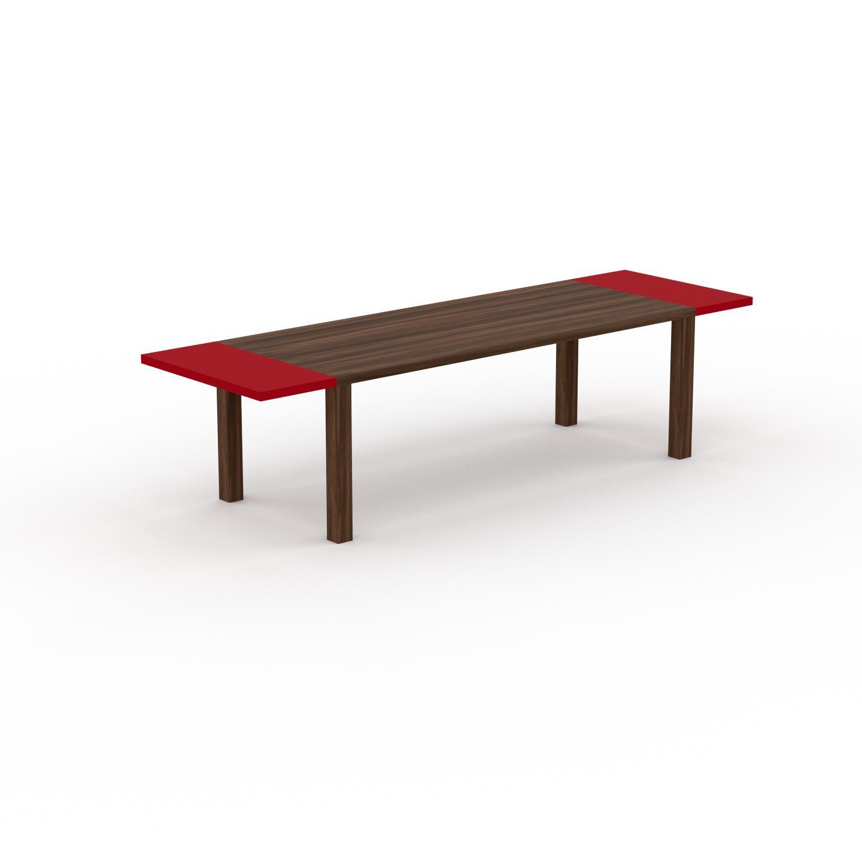 MYCS Table à manger extensible - Noyer, moderne, pour salle à manger ou cuisine, avec deux rallonges - 300 x 76 x 90 cm, personnalisable