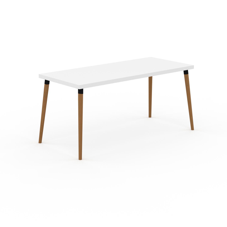 MYCS Table à manger - Blanc, design scandinave, pour salle à manger ou cuisine nordique - 160 x 75 x 70 cm, personnalisable
