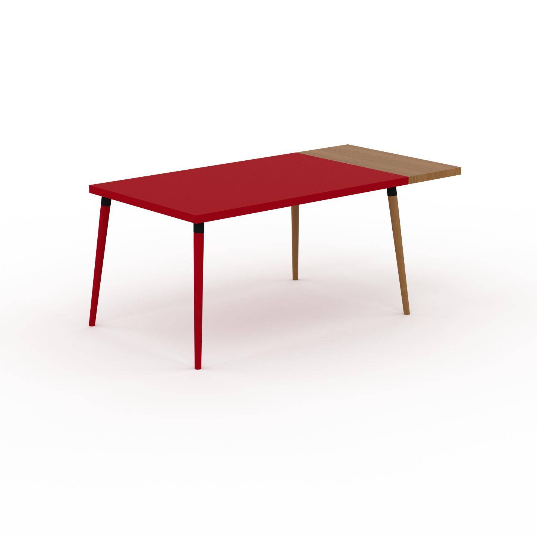 MYCS Table à manger - Rouge, design scandinave, pour salle à manger ou cuisine nordique, table extensible à rallonge - 180 x 75 x 90 cm