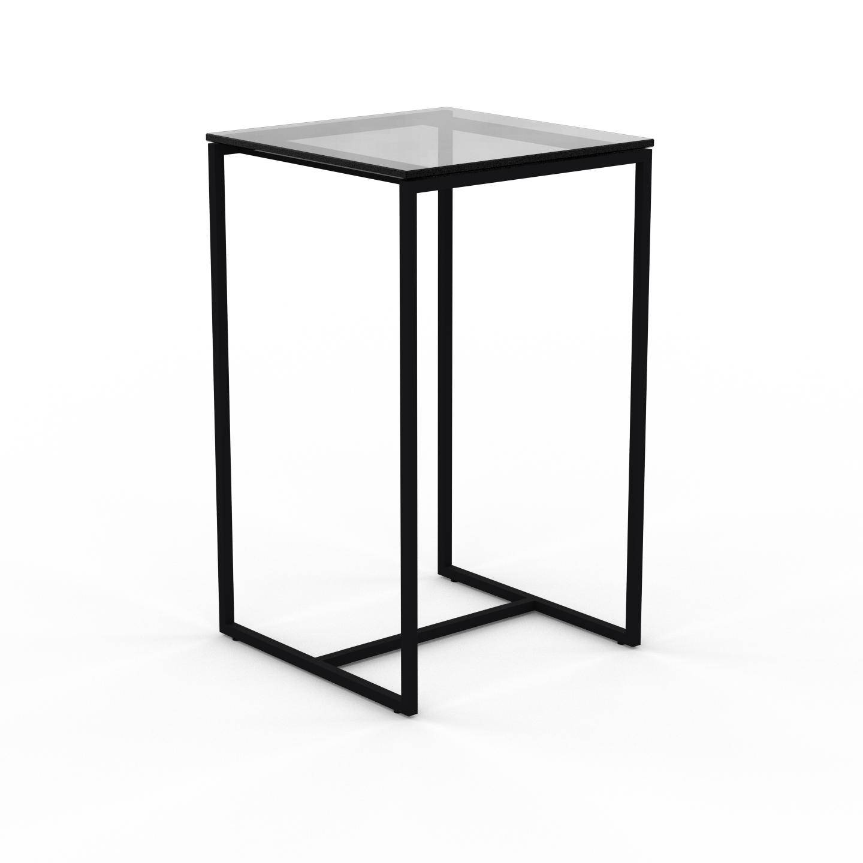 MYCS Table basse en Verre fumé transparent, design industriel, bout de canapé raffiné - 42 x 71 x 42 cm, personnalisable