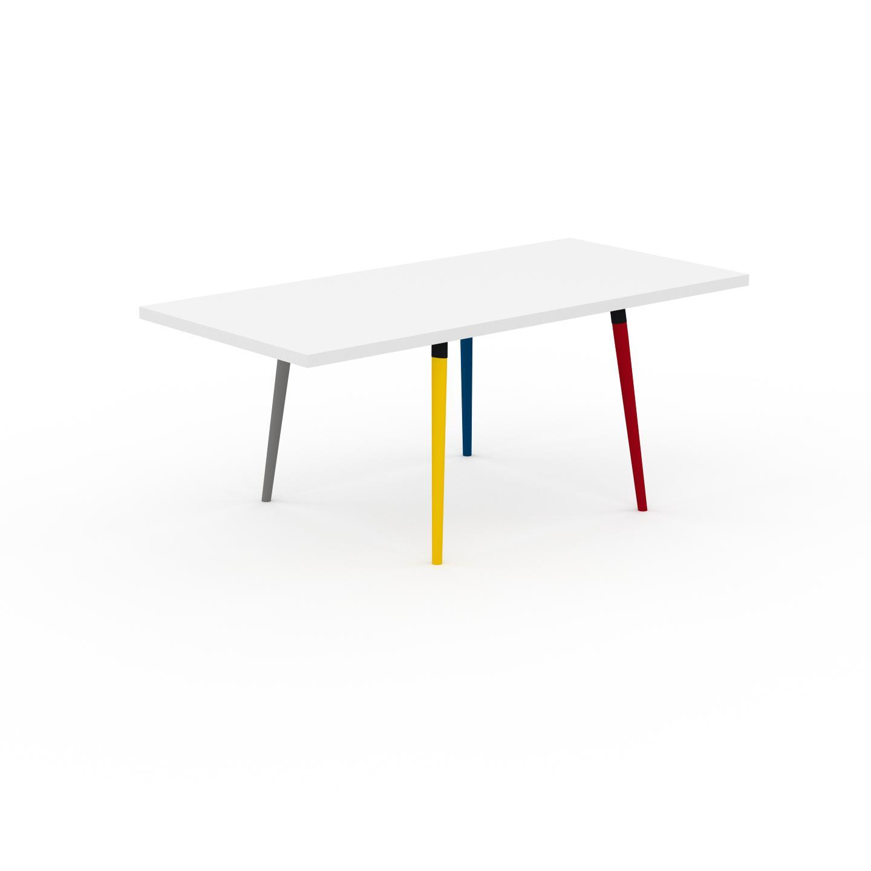 MYCS Table à manger - Blanc, design scandinave, pour salle à manger ou cuisine nordique, table extensible à rallonge - 190 x 75 x 90 cm