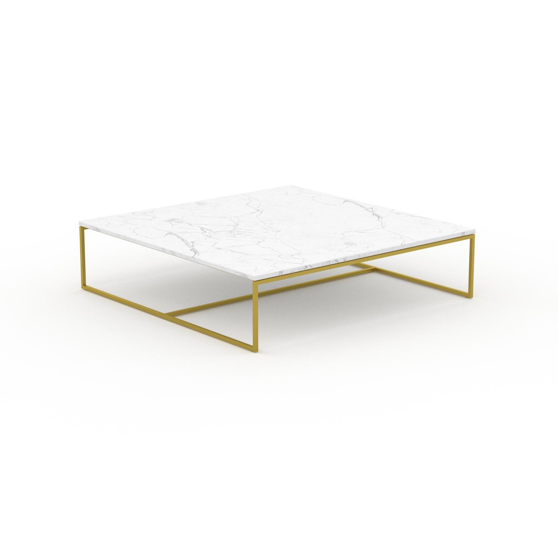 MYCS Table basse en marbre Blanc Carrara avec des jambes dorées, design contemporain, bout de canapé luxueux et sophistiqué - 121 x 31 x 121 cm,