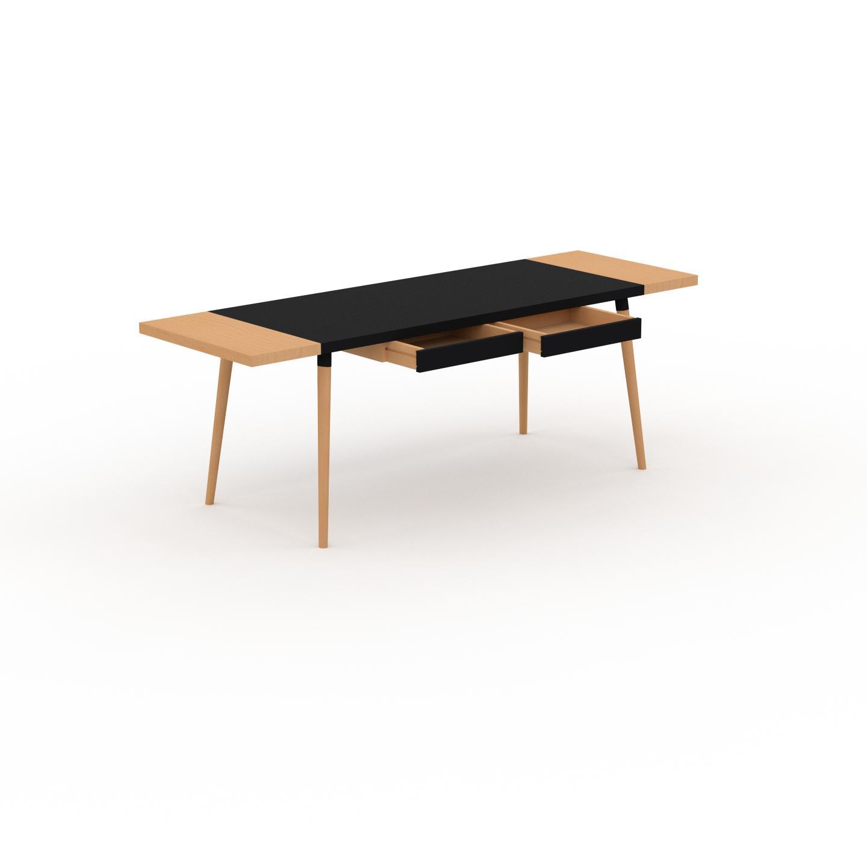 MYCS Table à manger - Noir, design scandinave, pour salle à manger ou cuisine nordique, table extensible à rallonge - 220 x 75 x 70 cm