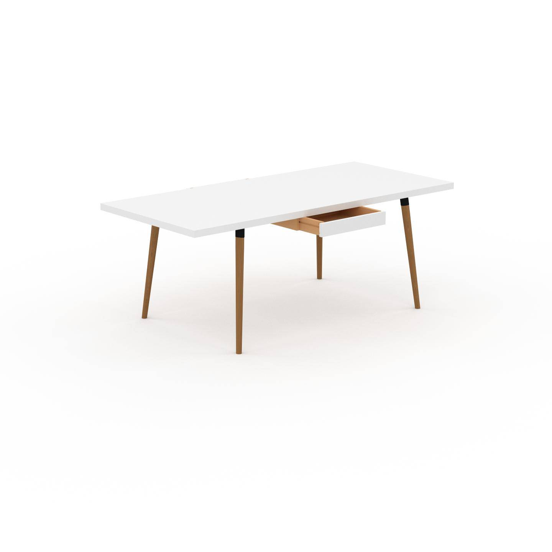 MYCS Table à manger - Blanc, design scandinave, pour salle à manger ou cuisine nordique, table extensible à rallonge - 200 x 75 x 90 cm