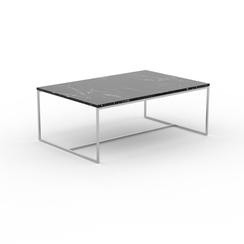 MYCS Table basse en marbre Noir Marquina, design contemporain, bout de canapé luxueux et sophistiqué - 121 x 46 x 81 cm, personnalisable