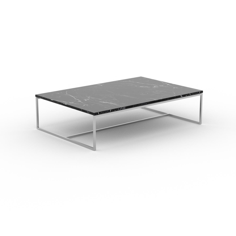 MYCS Table basse en marbre Noir Marquina, design contemporain, bout de canapé luxueux et sophistiqué - 121 x 31 x 81 cm, personnalisable
