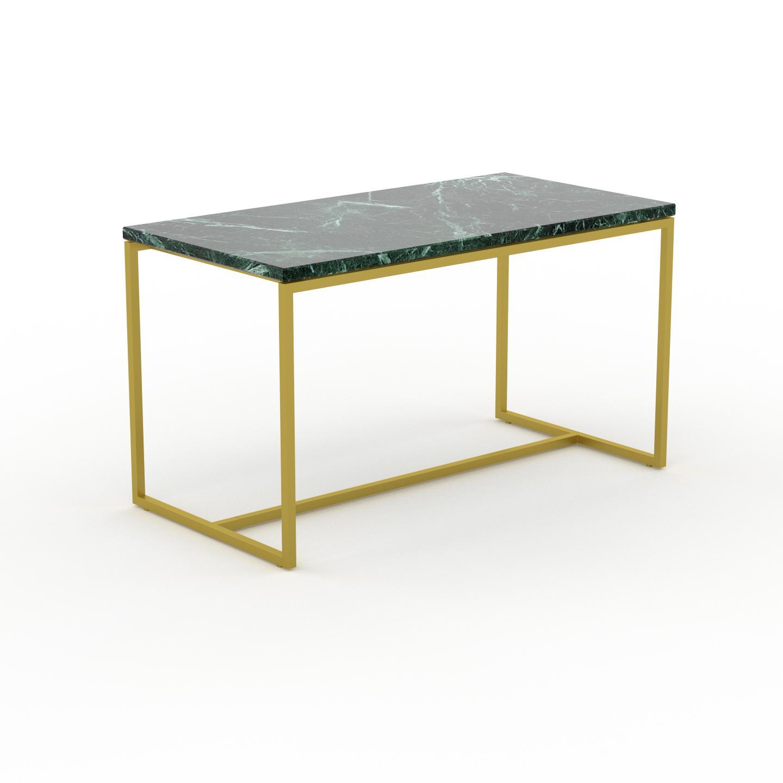 MYCS Table basse en marbre Vert Guatemala avec des jambes dorées, design contemporain, bout de canapé luxueux et sophistiqué - 81 x 46 x 42 cm,