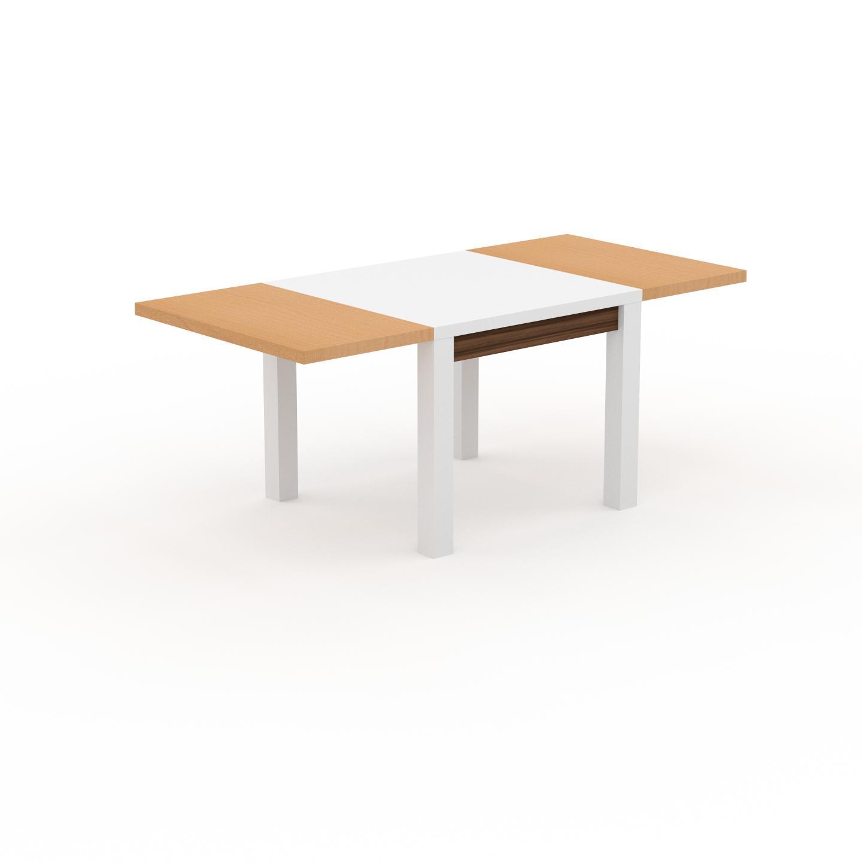 MYCS Table à manger extensible - Blanc, moderne, pour salle à manger ou cuisine, avec deux rallonges - 190 x 76 x 90 cm, personnalisable