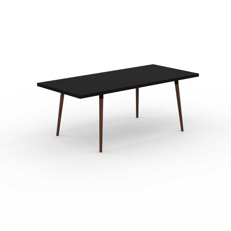 MYCS Table à manger - Noir, design scandinave, pour salle à manger ou cuisine nordique, table extensible à rallonge - 200 x 75 x 90 cm