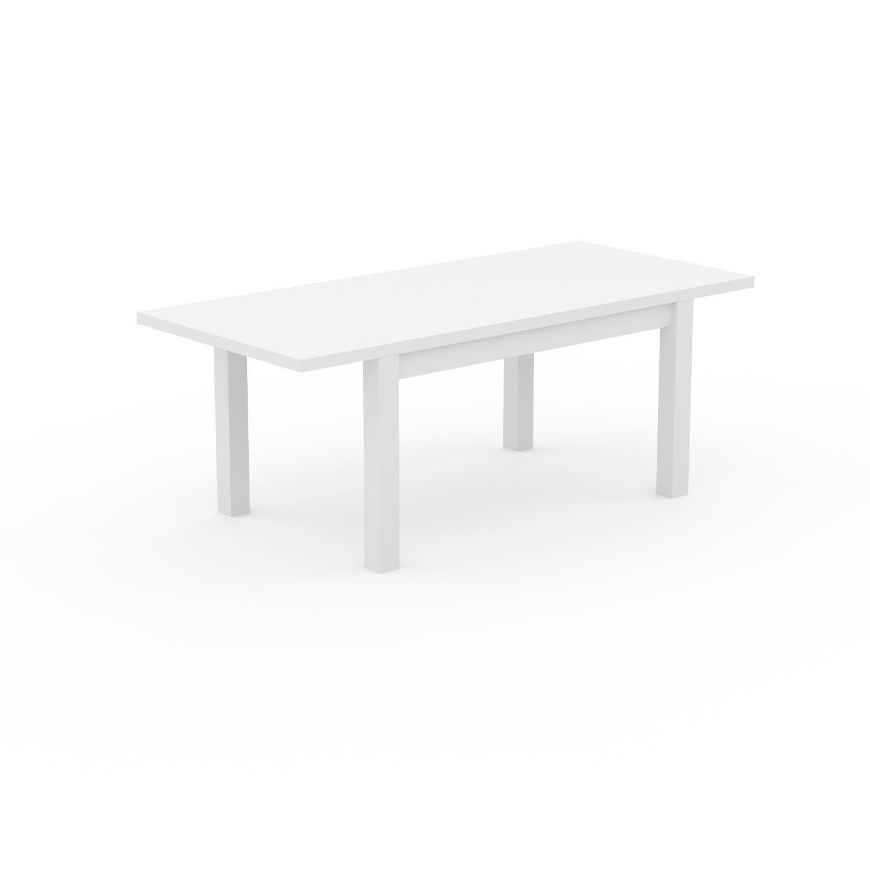 MYCS Table à manger extensible - Blanc, moderne, pour salle à manger ou cuisine, avec deux rallonges - 200 x 76 x 90 cm, personnalisable