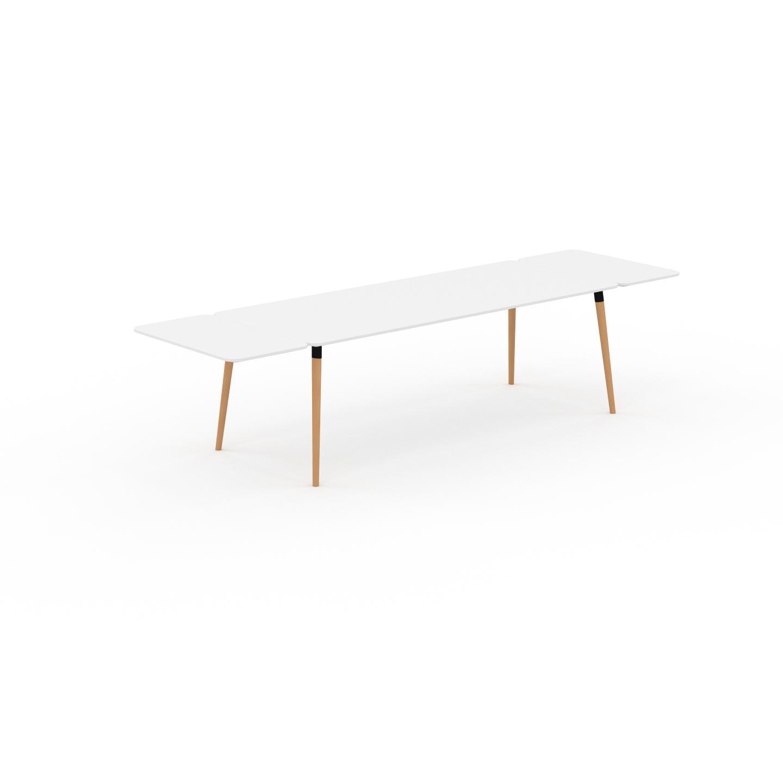 MYCS Table à manger - Blanc, design scandinave, pour salle à manger ou cuisine nordique, table extensible à rallonge - 320 x 75 x 90 cm