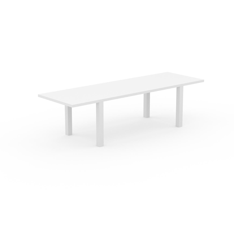 MYCS Table à manger extensible - Blanc, moderne, pour salle à manger ou cuisine, avec deux rallonges - 280 x 76 x 90 cm, personnalisable