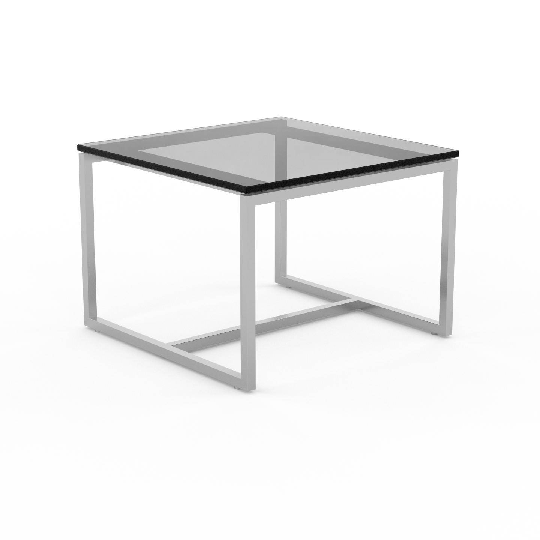MYCS Table basse en Verre fumé transparent, design industriel, bout de canapé raffiné - 42 x 31 x 42 cm, personnalisable