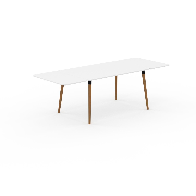 MYCS Table à manger - Blanc, design scandinave, pour salle à manger ou cuisine nordique, table extensible à rallonge - 240 x 75 x 90 cm