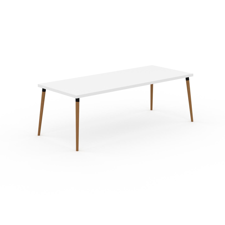 MYCS Table à manger - Blanc, design scandinave, pour salle à manger ou cuisine nordique - 220 x 75 x 90 cm, personnalisable