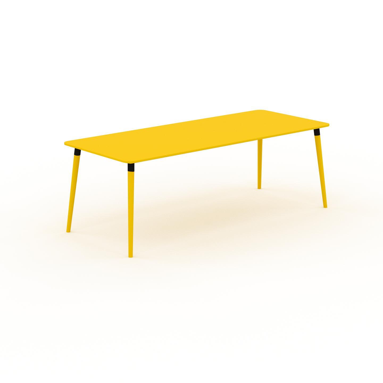 MYCS Table à manger - Jaune, design scandinave, pour salle à manger ou cuisine nordique - 220 x 75 x 90 cm, personnalisable