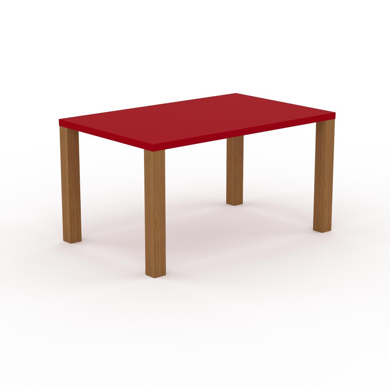 MYCS Table à manger - Rouge, design, pour salle à manger ou cuisine plateau de qualité - 140 x 76 x 90 cm, personnalisable
