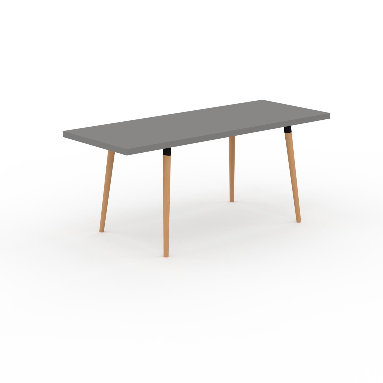 MYCS Table à manger - Gris, design scandinave, pour salle à manger ou cuisine nordique, table extensible à rallonge - 180 x 75 x 70 cm