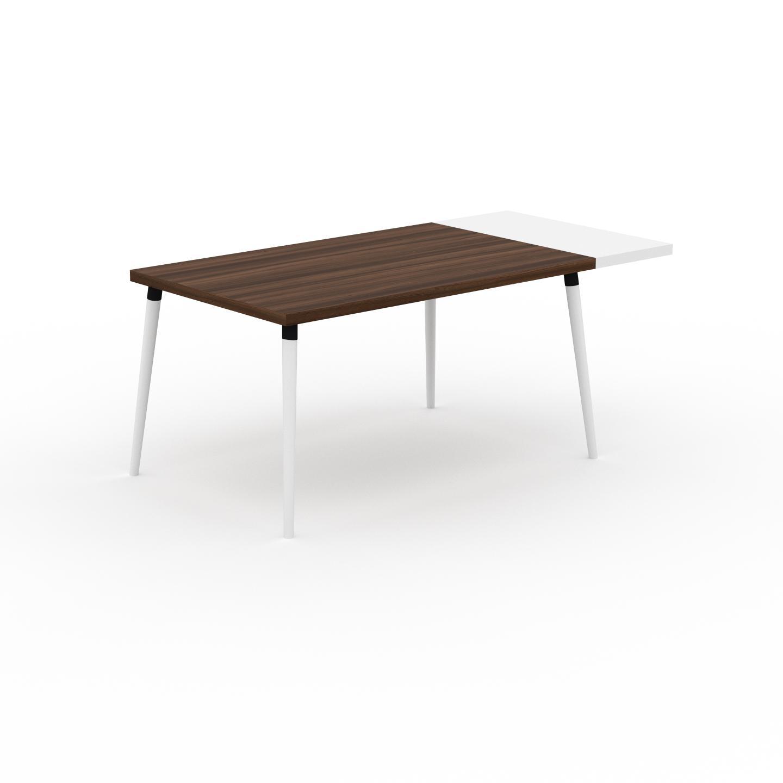MYCS Table à manger - Noyer, design scandinave, pour salle à manger ou cuisine nordique, table extensible à rallonge - 180 x 75 x 90 cm