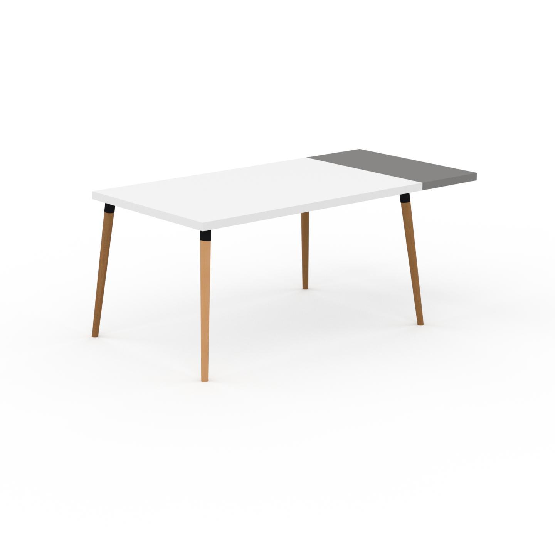 MYCS Table à manger - Blanc, design scandinave, pour salle à manger ou cuisine nordique, table extensible à rallonge - 180 x 75 x 90 cm