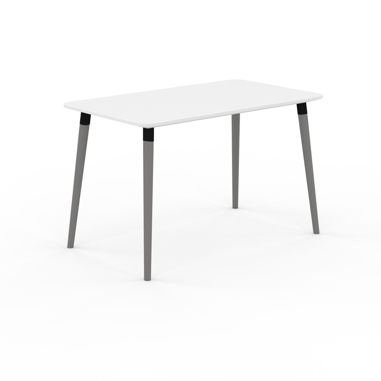 MYCS Table à manger - Blanc, design scandinave, pour salle à manger ou cuisine nordique - 120 x 75 x 70 cm, personnalisable