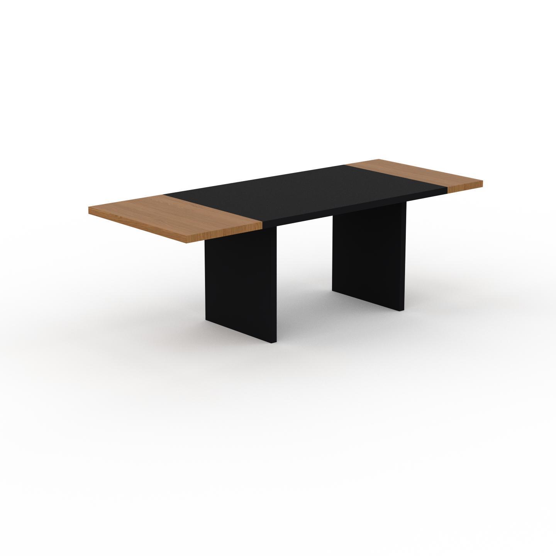 MYCS Table à manger extensible - Noir, moderne, pour salle à manger ou cuisine, avec deux rallonges - 220 x 75 x 90 cm, personnalisable