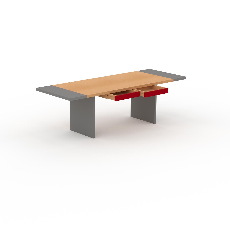 MYCS Table à manger extensible - Hêtre, moderne, pour salle à manger ou cuisine, avec deux rallonges - 240 x 75 x 90 cm, personnalisable