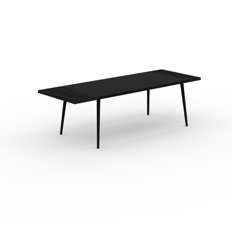 MYCS Table à manger - Noir, design scandinave, pour salle à manger ou cuisine nordique, table extensible à rallonge - 250 x 75 x 90 cm