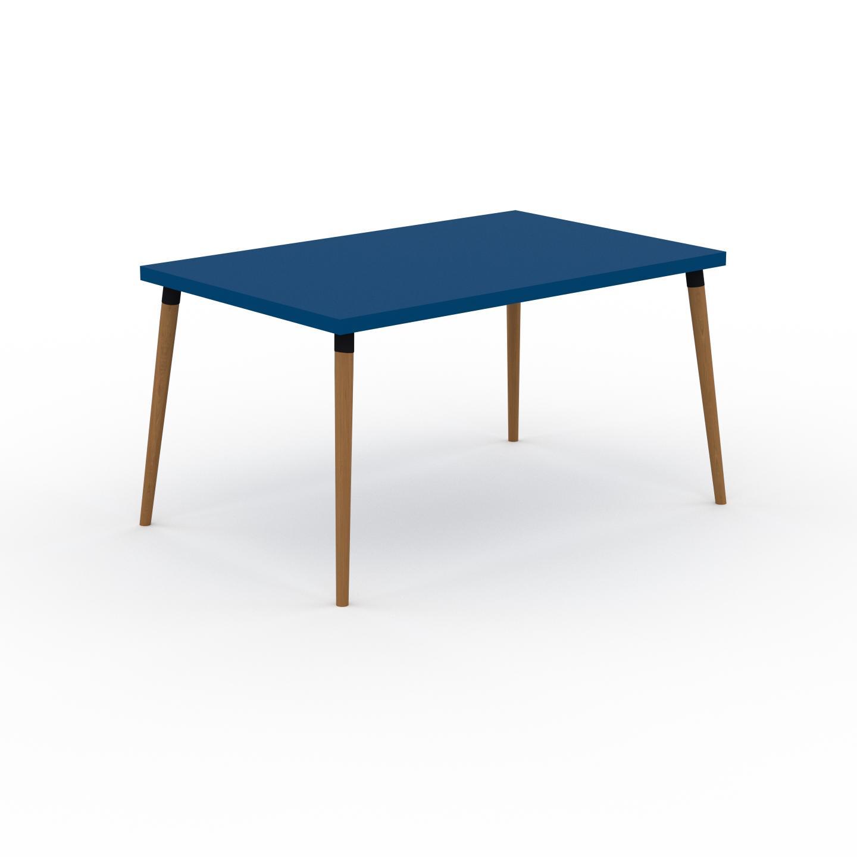 MYCS Table à manger - Bleu, design scandinave, pour salle à manger ou cuisine nordique - 140 x 75 x 90 cm, personnalisable